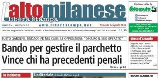 prima pagina libera stampa l'altomilanese 22 aprile 2016