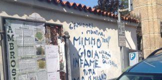 corbetta scritta contro mimmo gioia sul muro del comune
