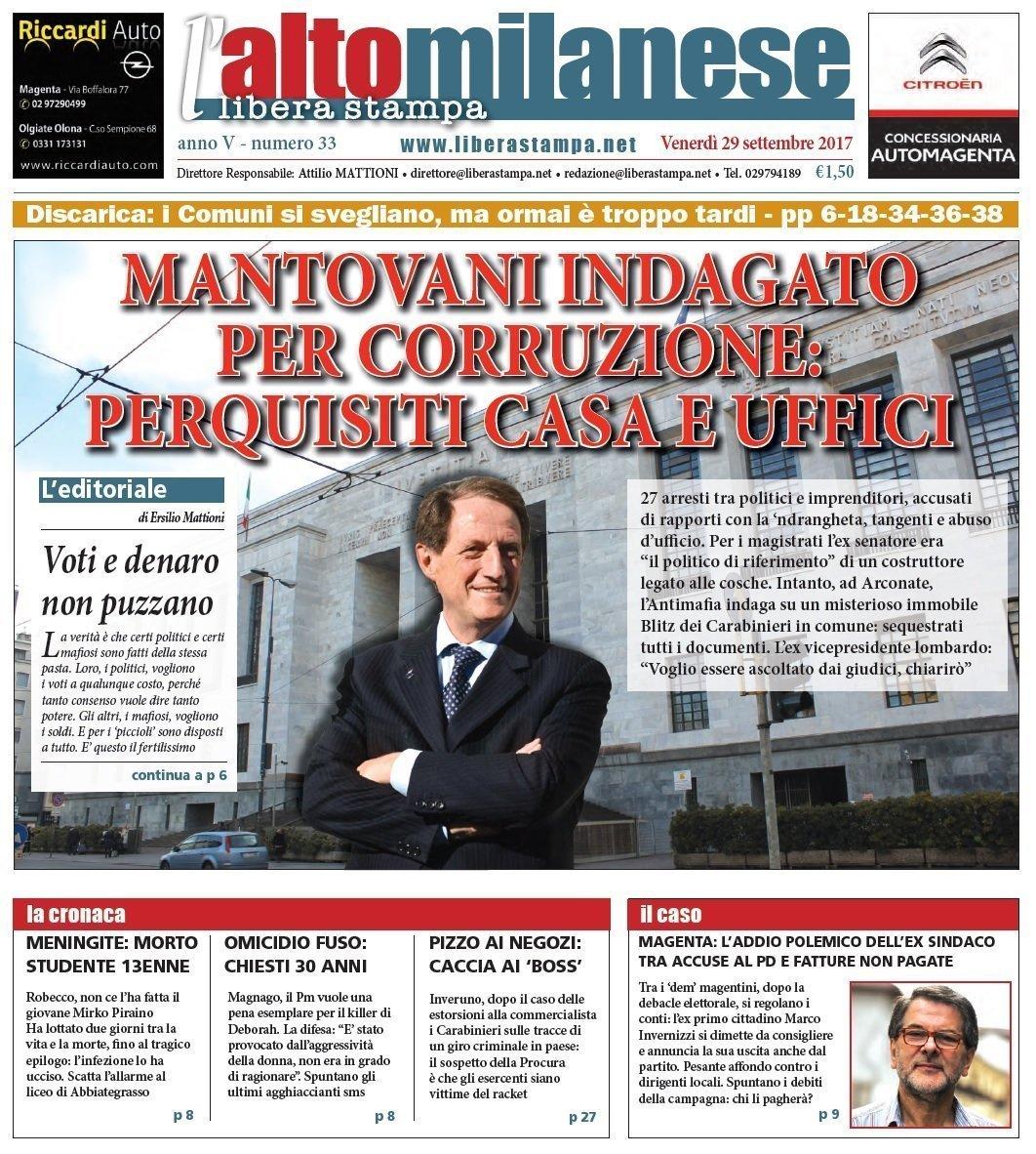prima pagina 29 settembre 2017 anteprima notizie libera stampa l'altomilanese