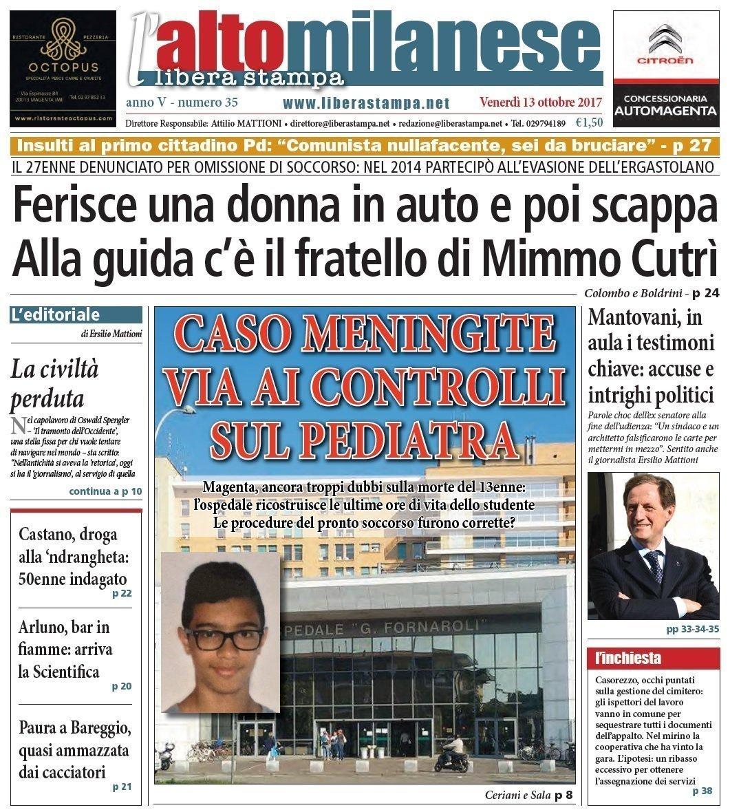 prima pagina 13 ottobre 2017 libera stampa l'altomilanese