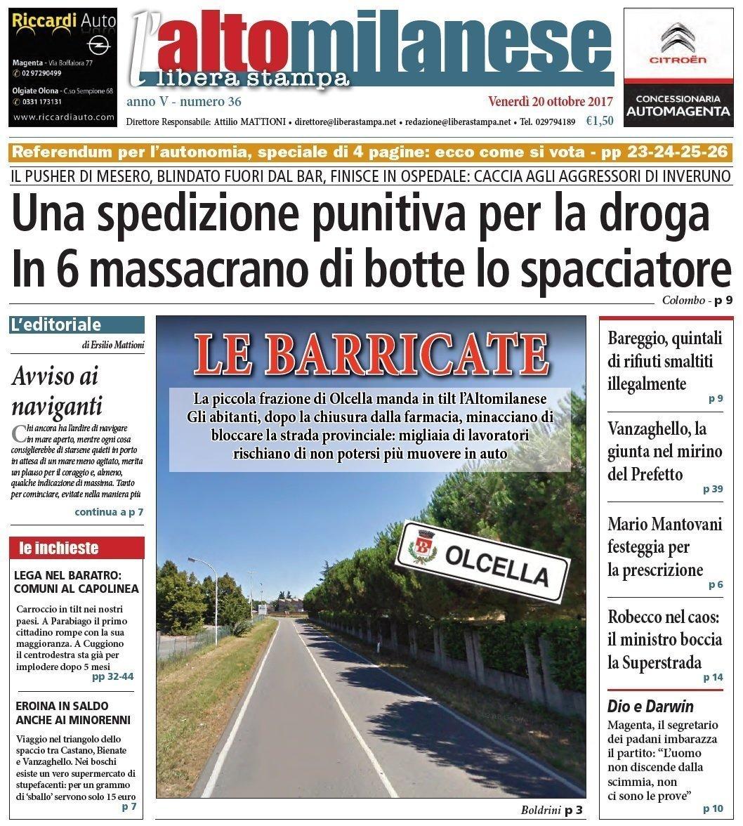 prima pagina 20 ottobre 2017 libera stampa l'altomilanese
