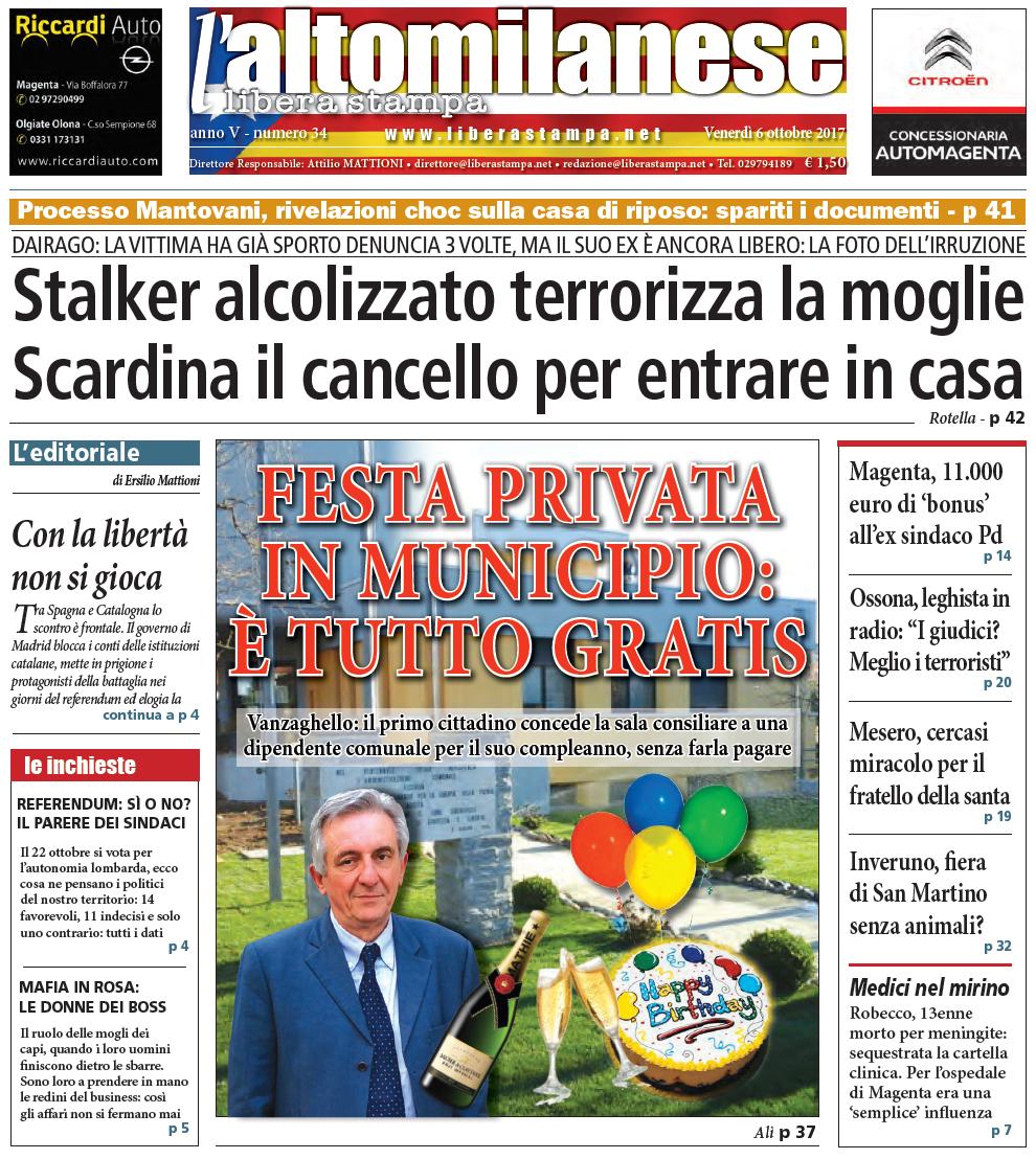 prima pagina 6 ottobre 2017 libera stampa l'altomilanese
