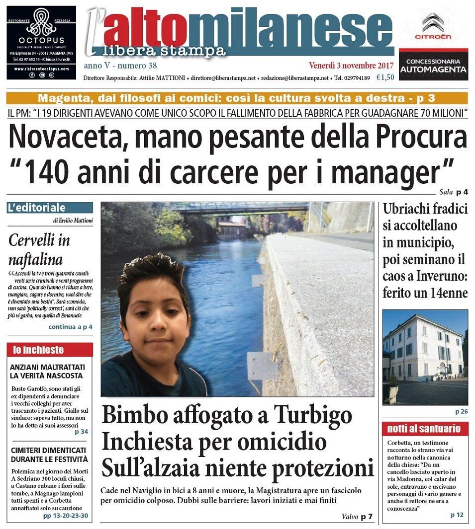 prima pagina 3 novembre 2017 libera stampa l'altomilanese